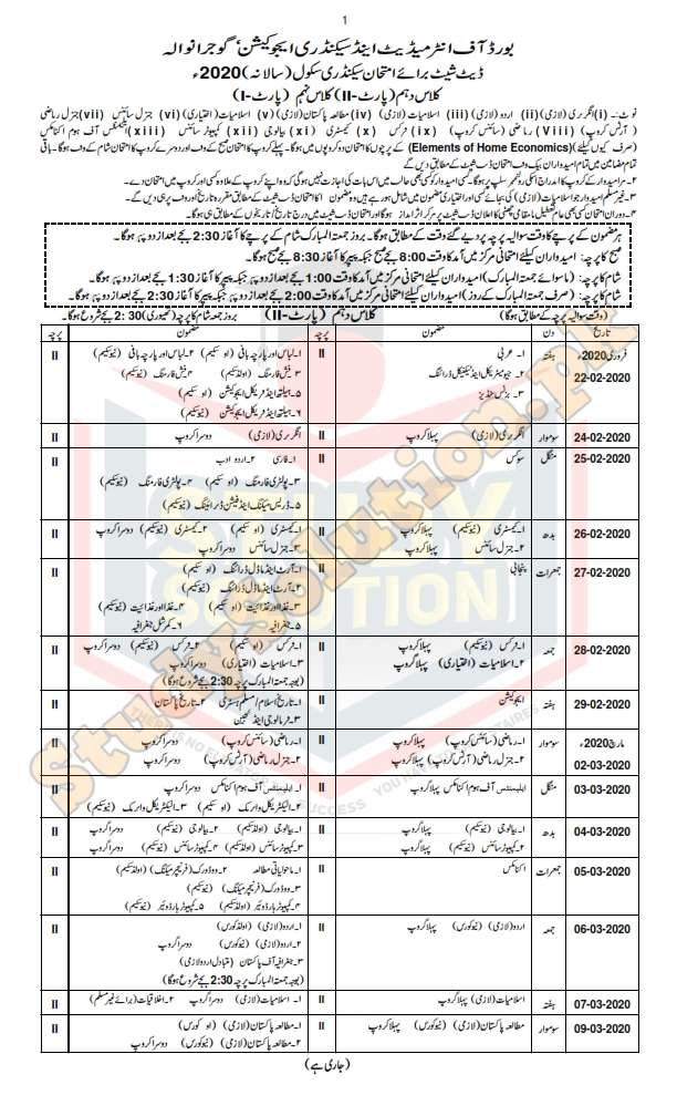 Gujranwala Board 10th Class Date Sheet 2020