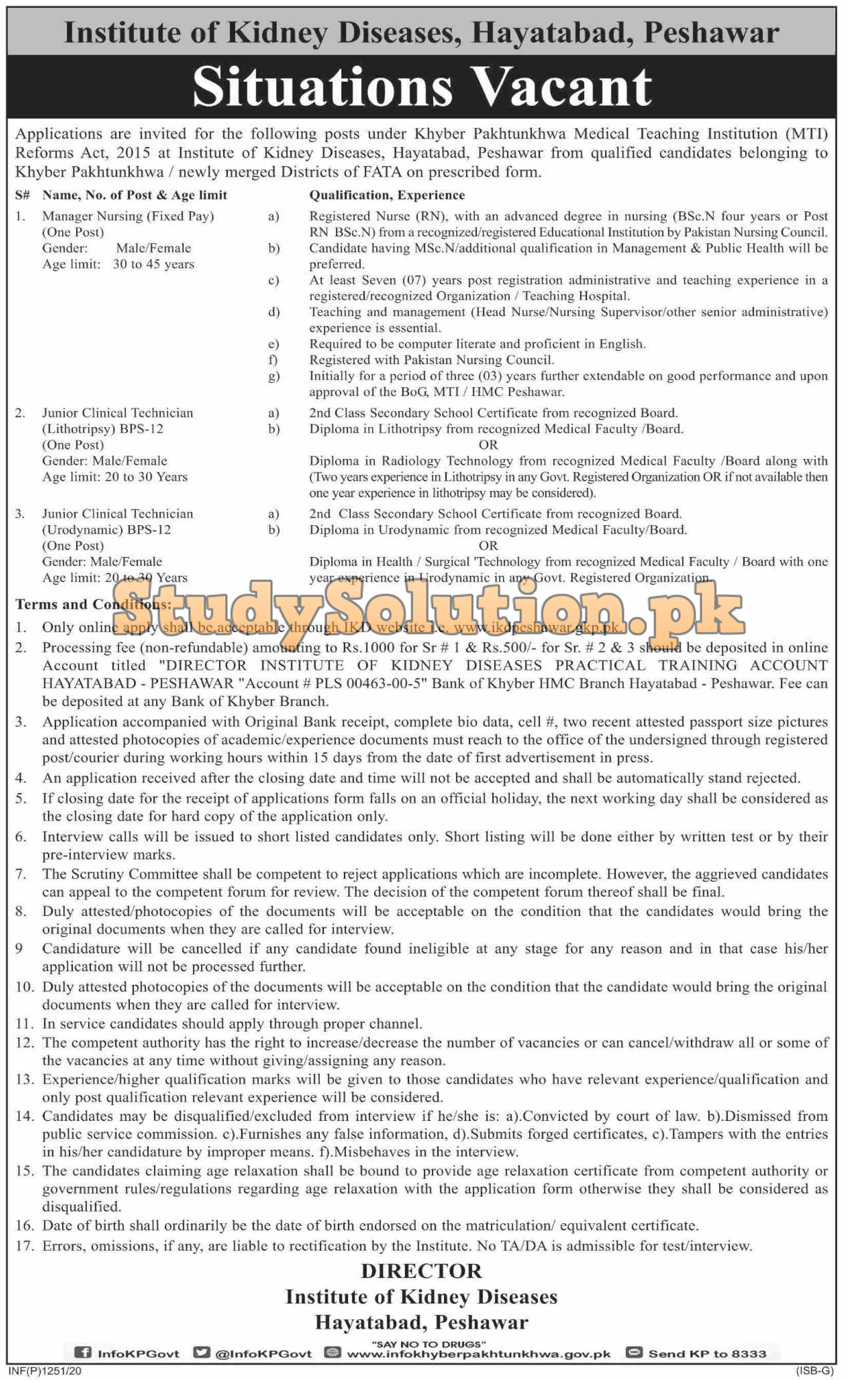 Institute Of Kidney Disease Latest Jobs 2020