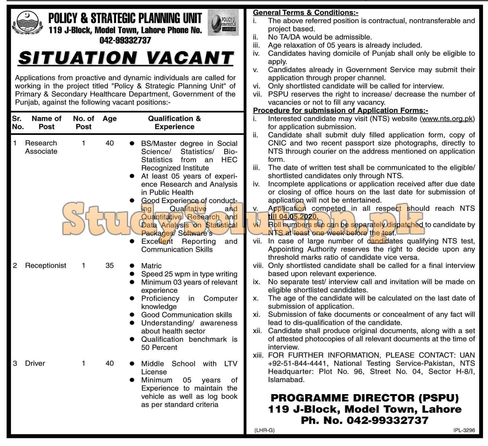 Policy and Strategic Planning Unit PSPU Jobs 2020