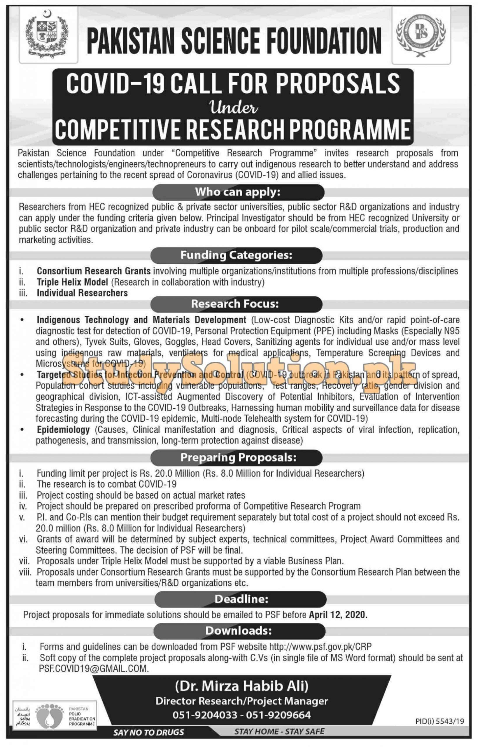 Pakistan Science Foundation PSF Latest Jobs 2020