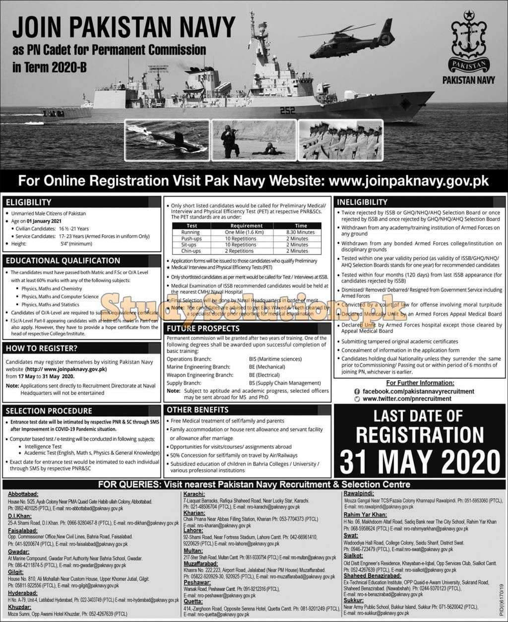 PN Cadet 2020 B Join Pakistan Navy Permanent Commission Jobs 2020