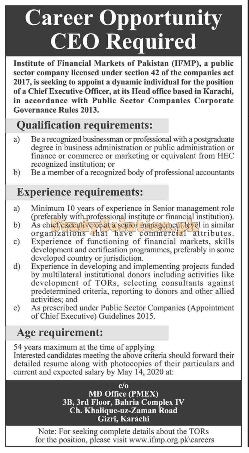 Institute of Financial Markets of Pakistan (IFMP) Jobs May 2020