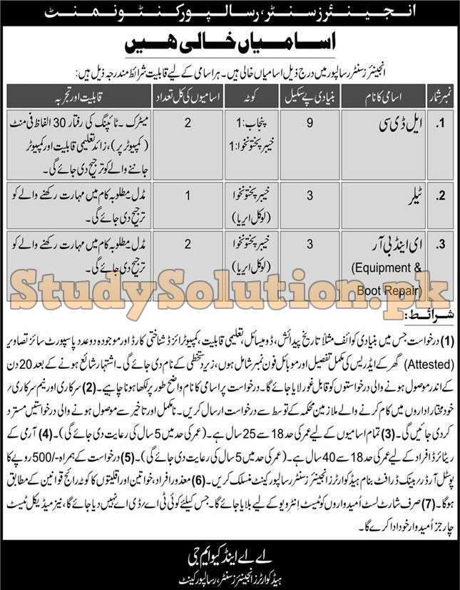Latest Jobs in Pakistan Army Engineers Center Risalpur Cantonment Civilian