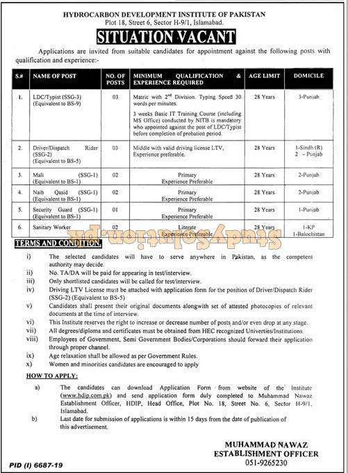 HDIP Ministry of Petroleum Latest Jobs 2020