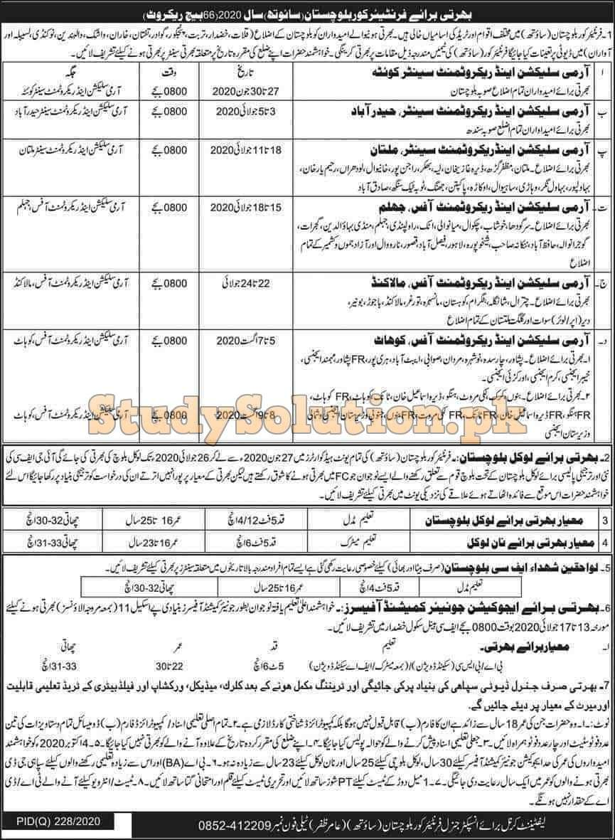 Join Pak Army FC Latest Jobs 2020 Sepoy And JCOs