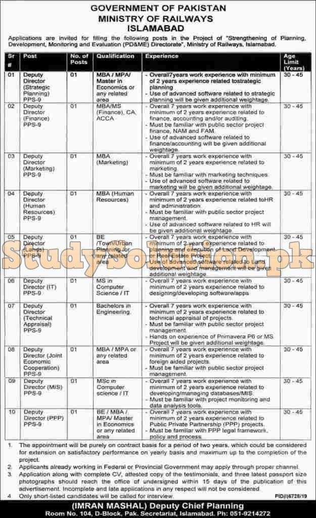 Federal Government Vacancies Ministry of Railways Latest Jobs 2020