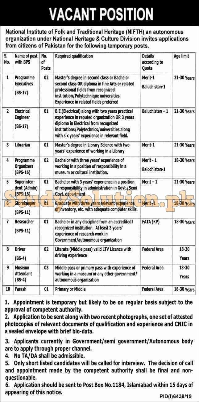 PO BOX 1184 Islamabad Latest Jobs 2020