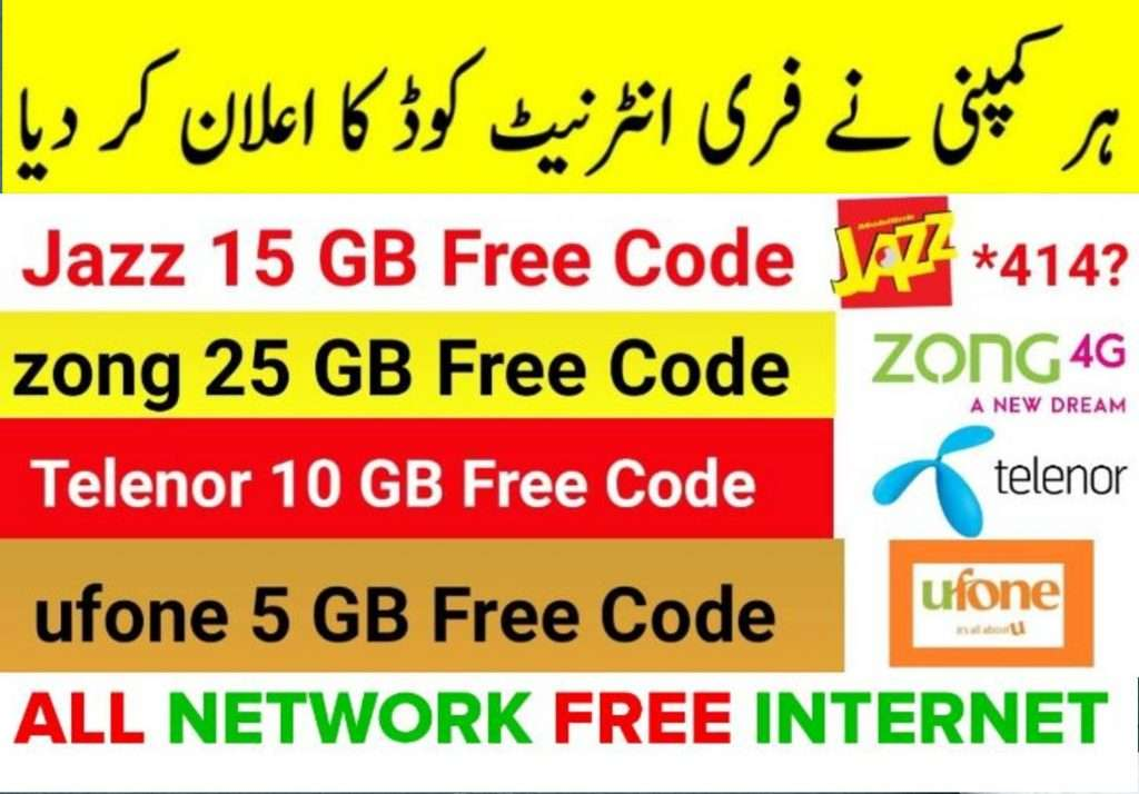 Pakistan Free Internet Working Codes 2020