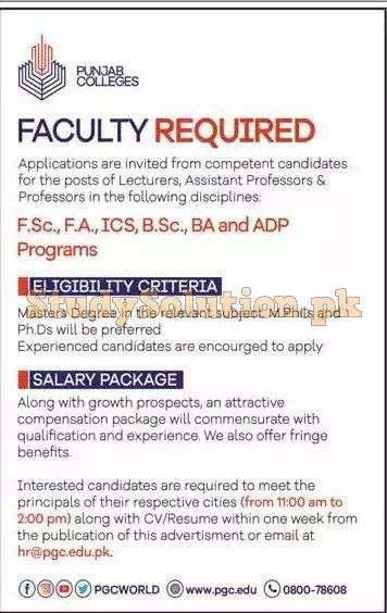 Punjab Group of Colleges PGC Latest Teaching Jobs 2020