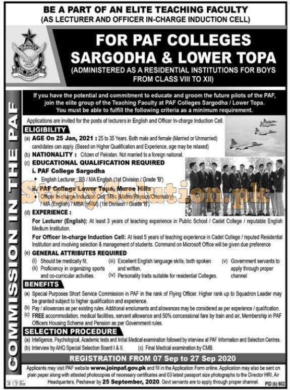 Join PAF Latest Jobs September 2020 SSC Commission
