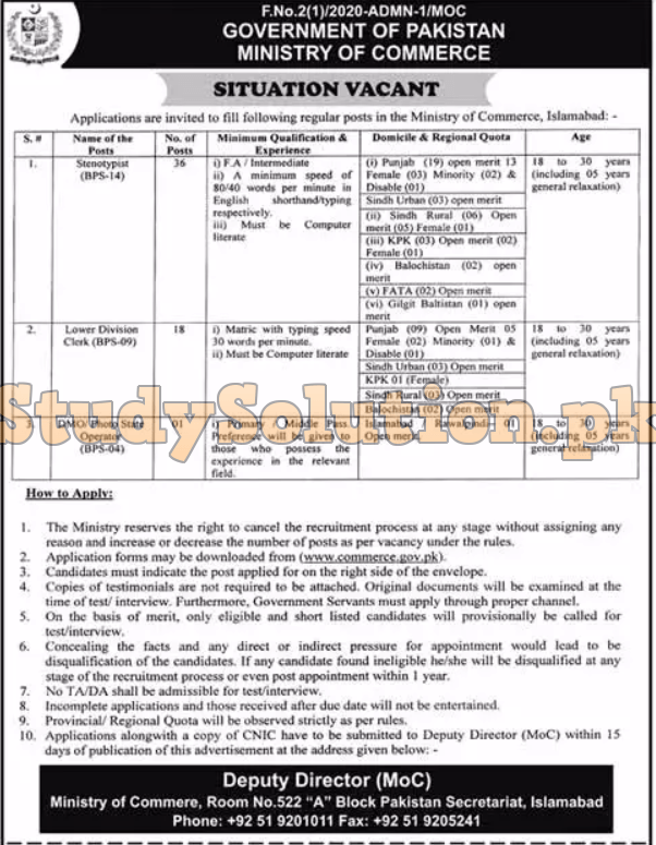 Ministry Of Commerce Latest Jobs 2020