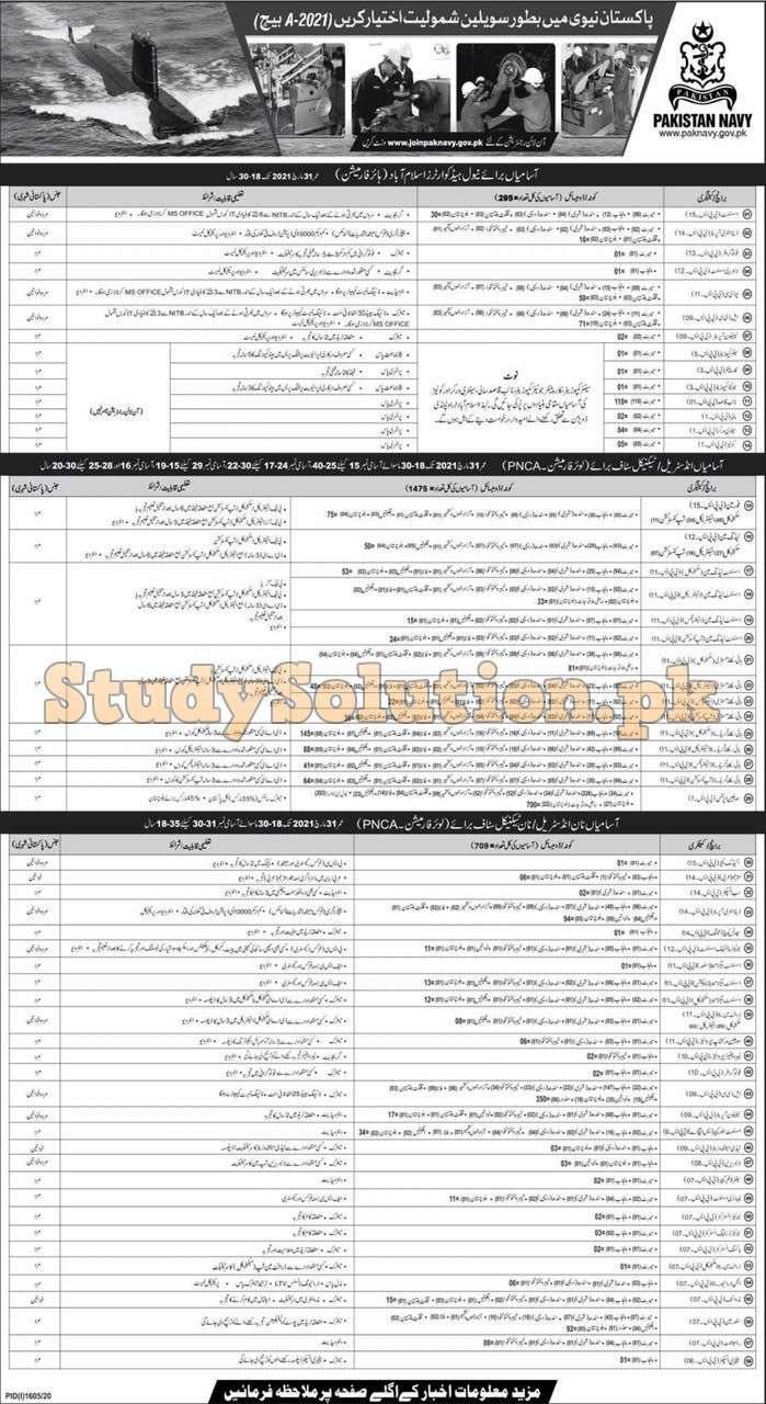 Join Pak Navy Civilian Jobs 2020 Batch 2021-A Online Registration