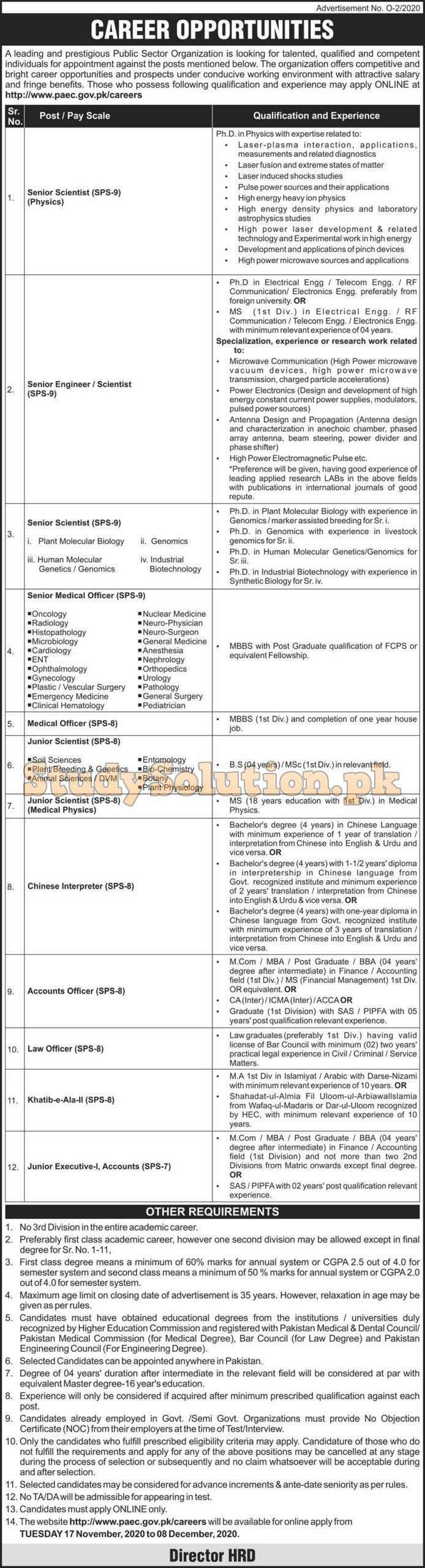Pakistan Atomic Energy Commission PAEC New Jobs Nov 2020