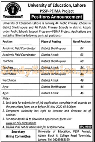 UE University Of Education Lahore Latest Jobs 2020 For PSSP Project