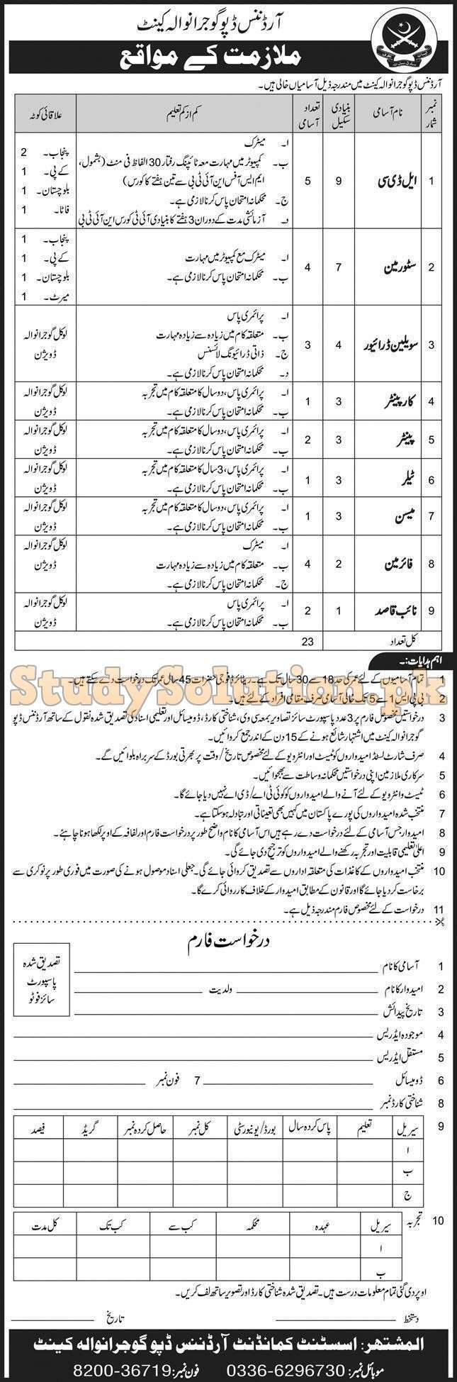 Pak Army Ordnance Depot Gujranwala Latest Civilian Jobs Nov 2020